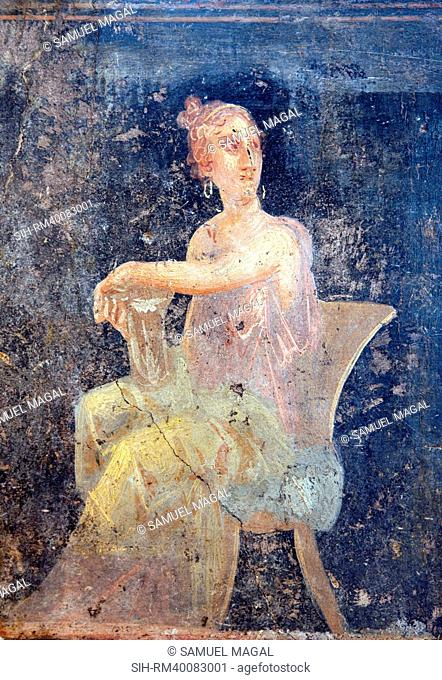 Italy, Naples, Naples Museum, Stabiae, Villa of Arianne, Triclinium 5, A Woman Sitting