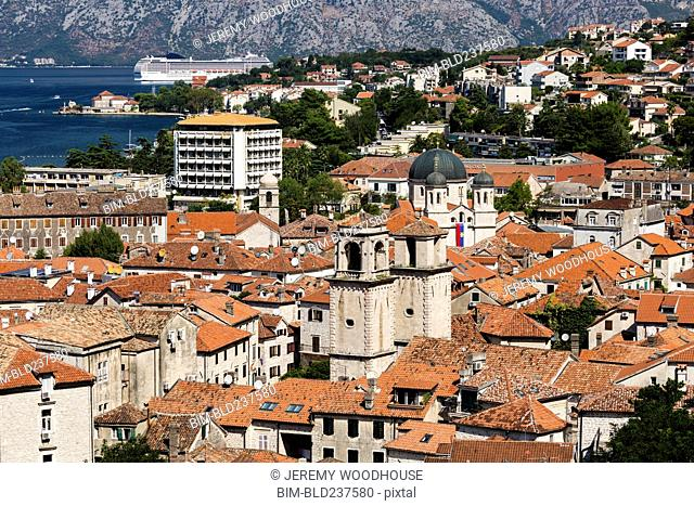 Rooftops at waterfront, Kotor, Dalmatia, Montenegro