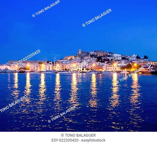 Ibiza island night view of Eivissa town