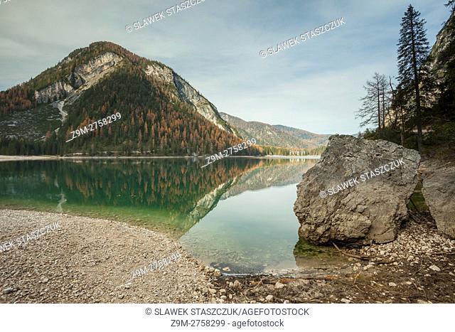 Autumn at lake Braies, South Tyrol, Bolzano, Italy. Dolomites