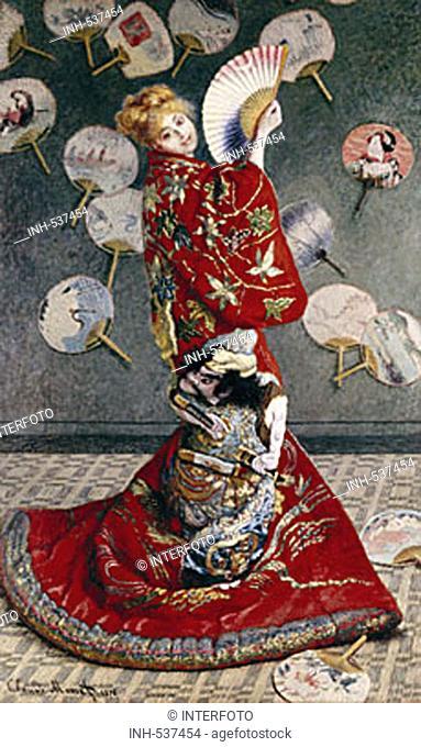 fine arts, Monet, Claude, (1840 - 1926), painting, 'La Japonaise', ('Misses Monet wearing kimono'), 1876, oil on canvas, 231,5 cm x 142 cm, museum of fine arts
