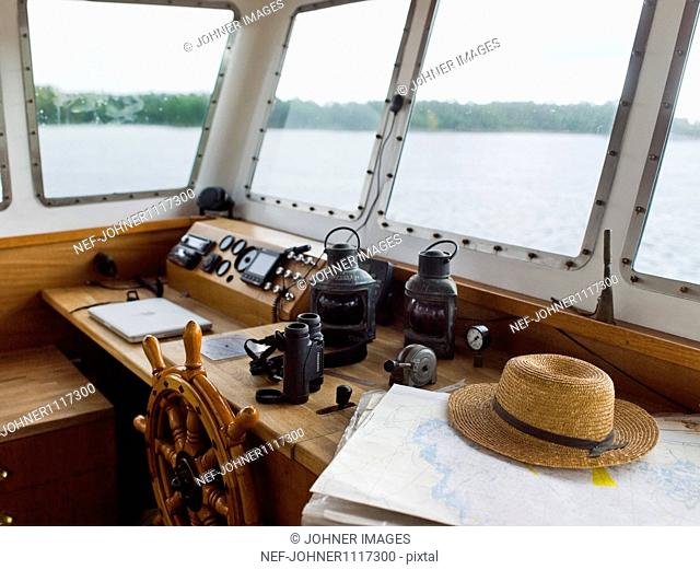 Steering wheel and control panel of boat