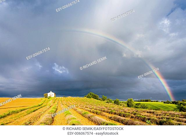 chapel with lavender field and rainbow, Plateau de Valensole, Provence, France