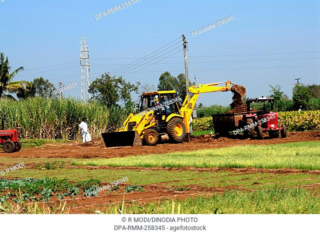 tractor in field, sangli, maharashtra, India, Asia