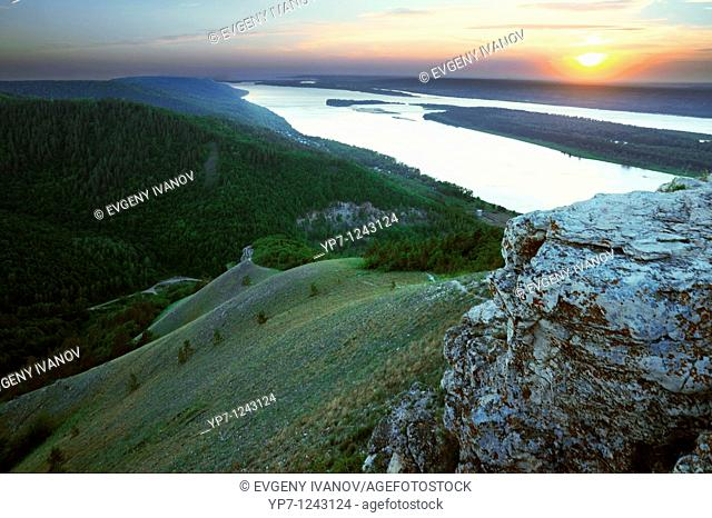 Sunset over Volga river in Russian National Park 'Samara Luka'