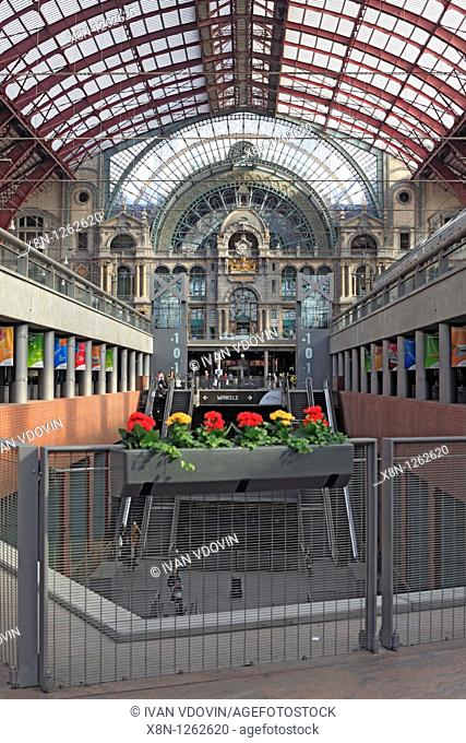 Interior of Antwerp Central railway station 1905, Belgium