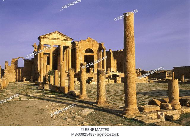 Tunisia, Sbeitla, forum, ruins,  Columns,   North Africa, sight, destination, Roman Sufetula, antique, archaeological place, archaeology, remains, architecture