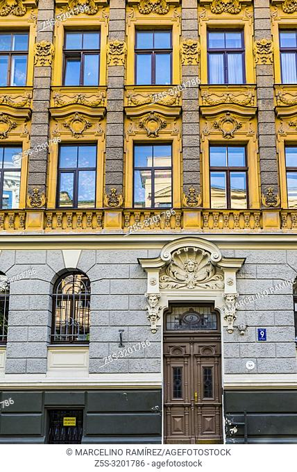 Art nouveau architecture in Riga - Building on the Alberta street, 9, Riga. Built in 1901. Riga, Latvia, Baltic states, Europe