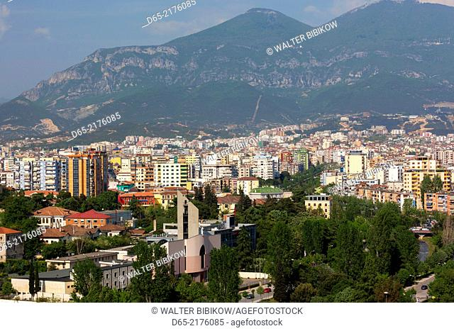 Albania, Tirana, elevated city view