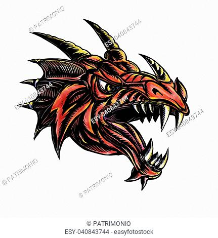 Scratchboard style illustration of an Angry Dragon Head viewed from side on isolated background