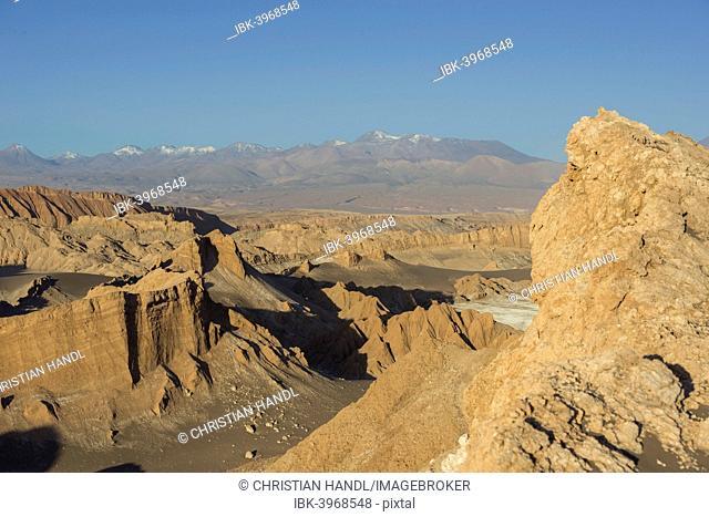Valle de la Luna or Valley of the Moon in the evening light, San Pedro de Atacama, Antofagasta Region, Chile