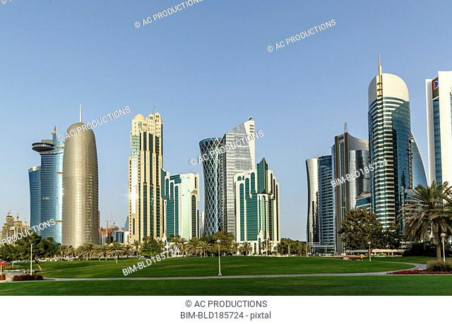 Highrise buildings in Doha cityscape, Doha, Qatar