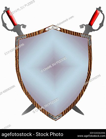 Isolated 16th Century War Shield Swords Gloves 3D