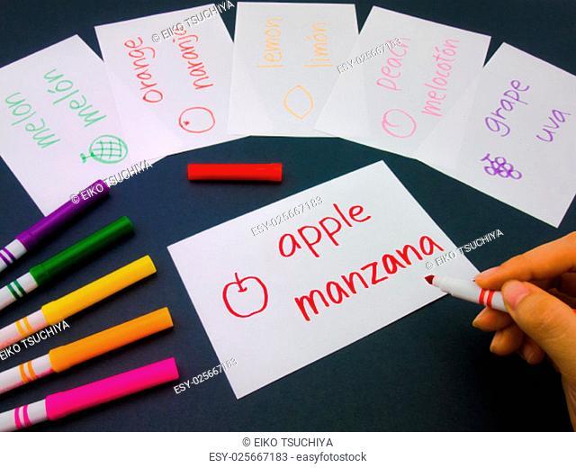 Making language flash cards for fundamental words; apple, lemon, peach, melon, grape and orange