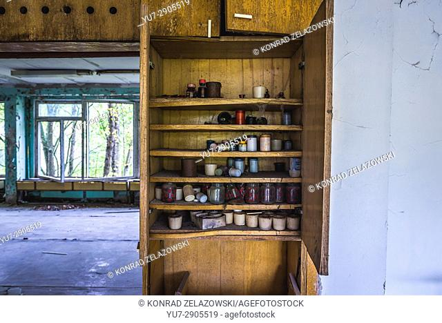 Fine art classroom of school No 2 in Pripyat ghost city, Chernobyl Nuclear Power Plant Zone of Alienation in Ukraine