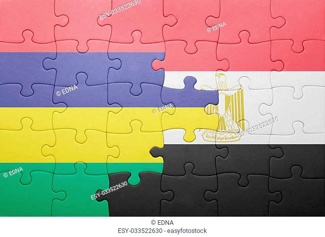 puzzle with the national flag of mauritius and egypt. concept