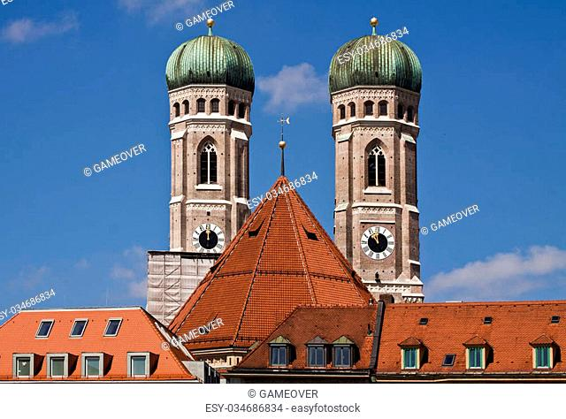 Munich, Germany - Frauenkirche, famous landmark of Munich with the twin bell towers, built in XV century