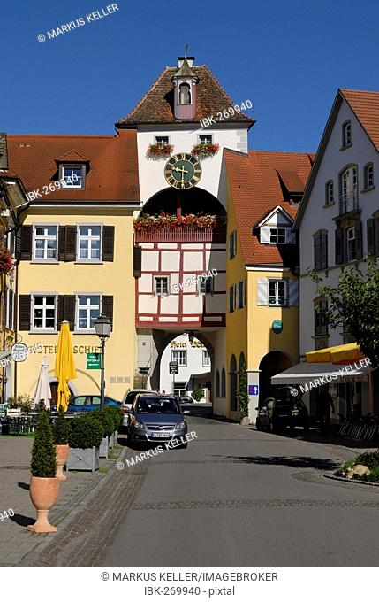Old towngate in old part of town, Meersburg, Baden Wuerttemberg, Germany, Europe
