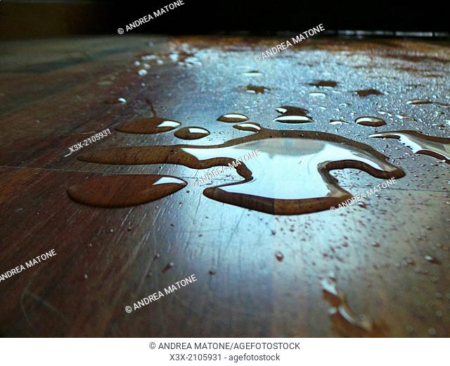 Water puddle on parquet floor