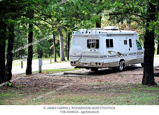 RV Motorhome parked at Table Rock State Park Missouri USA