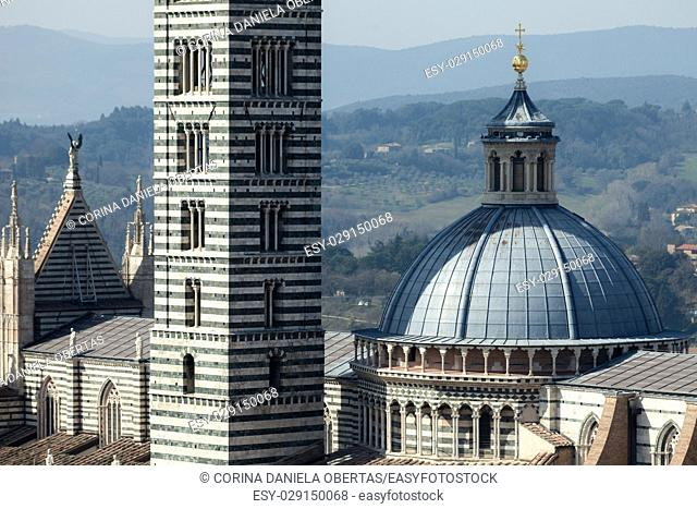 Closeup view above Siena Cathedral and Campanile, Tuscany, Italy