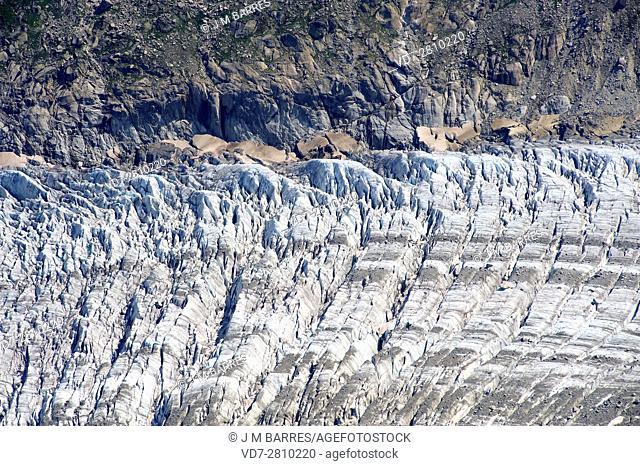 Argentiere glacier with main glacier, crevases and moraines. Chamonix-Mont Blanc, Alps, France