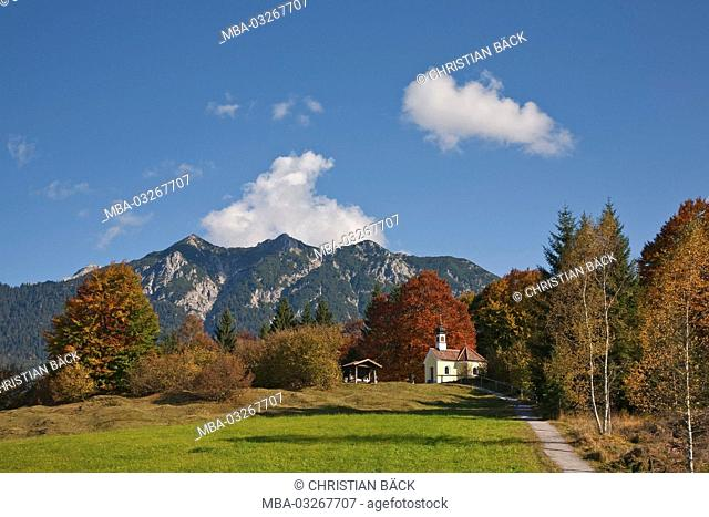 Chapel Maria Rast near Krün, Upper Bavaria, Bavaria, Germany