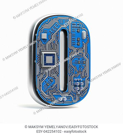 Number 0 zero, Alphabet in circuit board style. Digital hi-tech letter isolated on white. 3d illustration