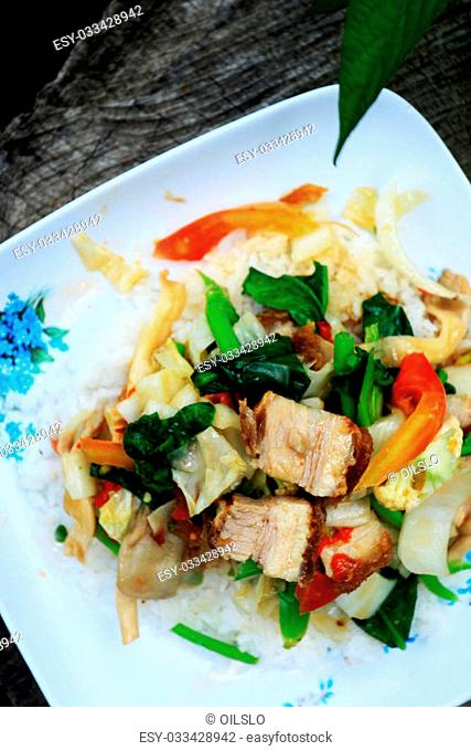 Rice with roasted pork Stock Photos and Images | age fotostock