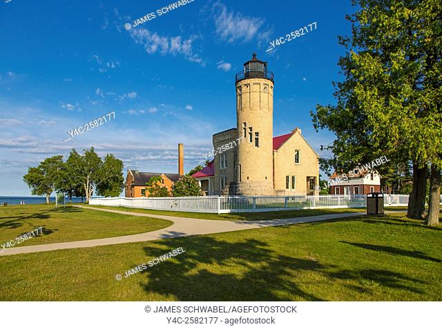 Historic Old Mackinac Point Lighthouse in Michilimackinac State Park in Mackinaw City Michigan