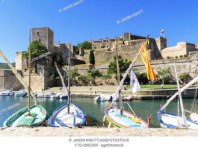 Collioure Château Royal overlooking boats in the small harbour of Port dâ. . Avall, Collioure, Côte Vermeille, Céret, Pyrénées-Orientales, Occitanie, France