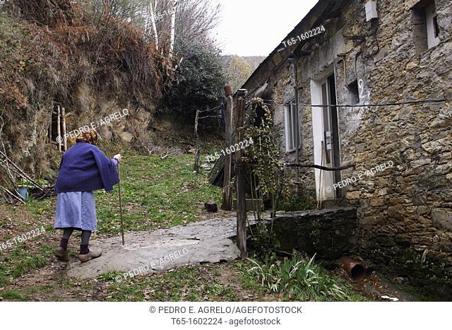 Old woman entering her house in the Serra do Courel afther gathering firewood for the winter. Note the typical wooden clogs used as protection