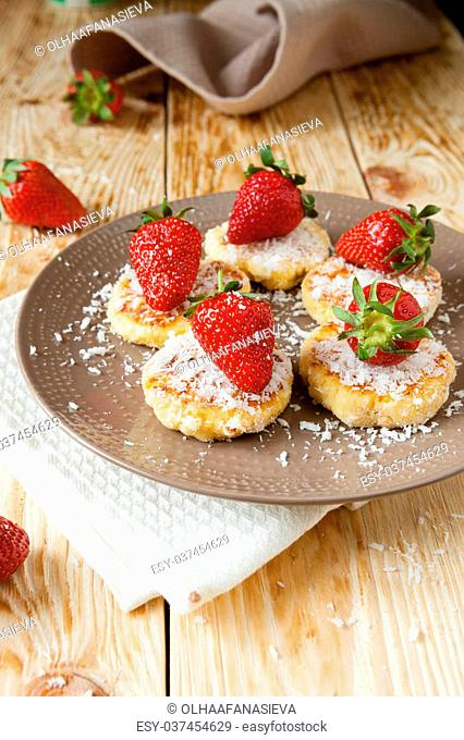curd pancakes with ripe berries, food