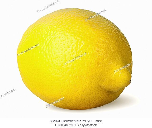 Ripe fresh lemon rotated isolated on white background