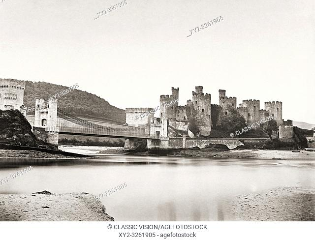 Conwy, Wales, United Kingdom. Conwy castle circa late 19th century. The castle was constructed in the 13th century. It is a UNESCO World Heritage Site