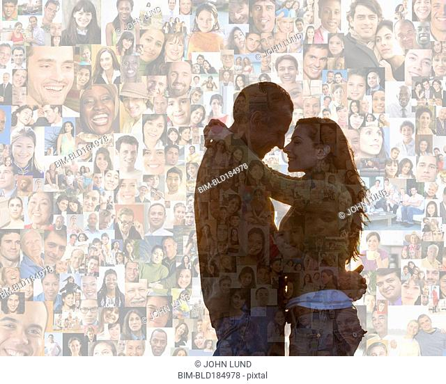 Couple hugging over collage of smiling face