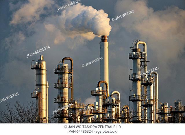 The oil refinery in Leuna, Germany, 9 December 2015. A celebration week is planned from 23-28 May 2016, to mark the 100th anniversary of the chemicals site