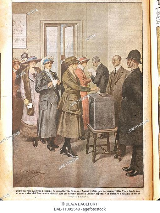 Political elections in England: Women voting for the first time. Illustrator Achille Beltrame (1871-1945), from La Domenica del Corriere, 20th century