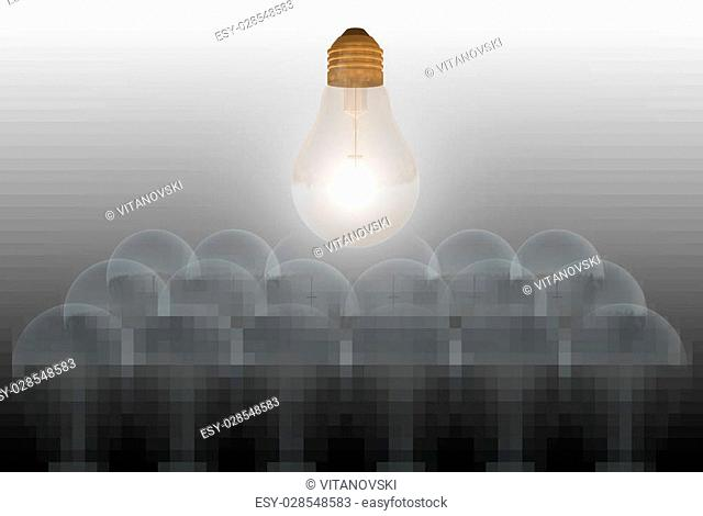 """One glowing bulb which illustrates """"""""standing out from the others"""""""""""""""""""""""