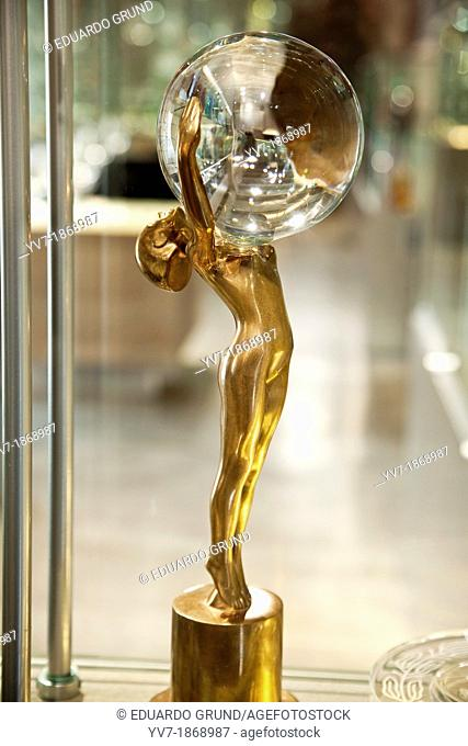 Statuette of the prizes of the Film Festival of Karlovy Vary, crowned with a crystal ball of Bohemia made in the cystal factory of Moser  Karlovy Vary, Bohemia