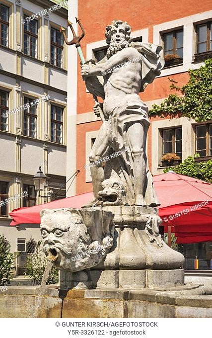 The Neptune Fountain was built in 1756 by the stonemason Johann Georg Mattausch. The fountain is located at Untermarkt (Lower Market square) in Goerlitz, Saxony