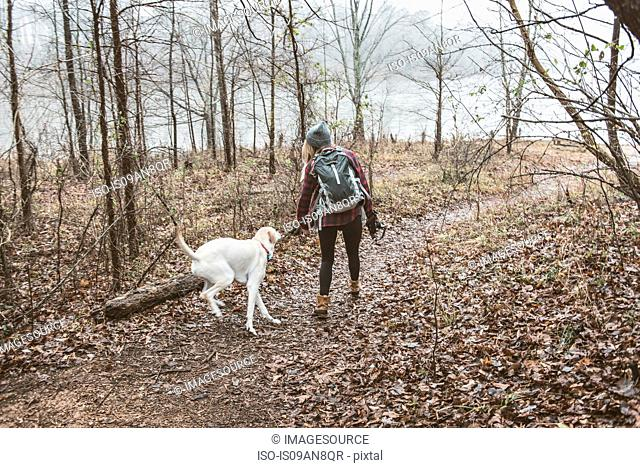 Young woman walking her dog in lakeside forest