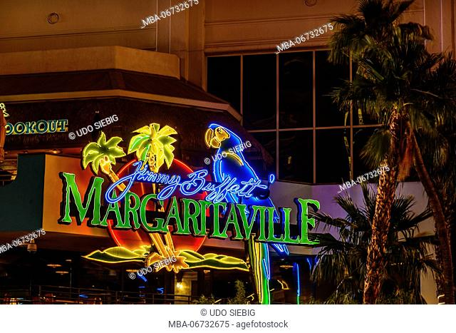 The USA, Nevada, Clark County, Las Vegas, Las Vegas Boulevard, The Strip, Flamingo hotel, Jimmy Buffett Margaritaville, entrance