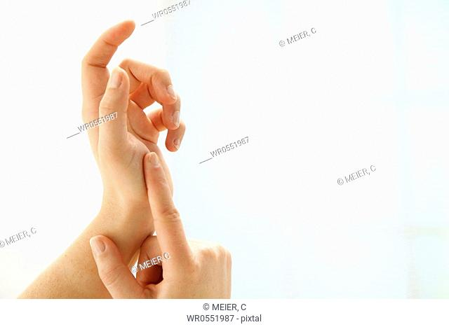 two well-groomed hands in front of white background