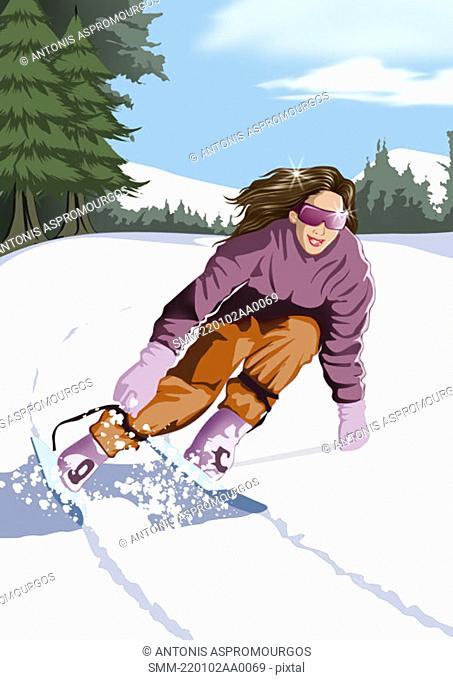 Woman rushing down hillside on her skis