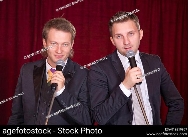 two men on stage