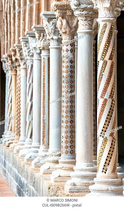 Row of cloister columns at Cathedral of Monreale, Palermo, Sicily, Italy