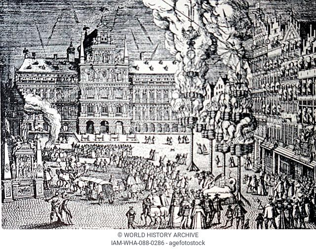 Engraving depicting fireworks in the main square of Antwerp, Belgium. Dated 16th Century