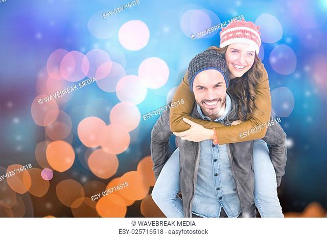 Composite image of portrait of man giving piggyback ride to woman