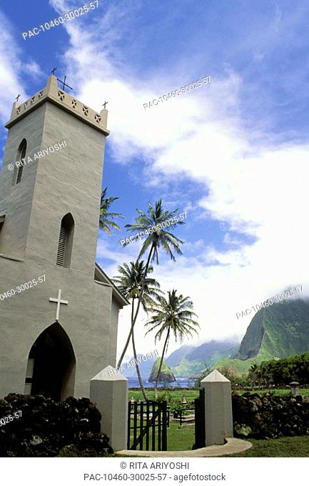 Hawaii, Molokai, Kalawao Kalaupapa Peninsula, Exterior of St.Philomena Church